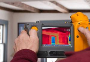 full home energy audit themal imaging camera landmark construction crew
